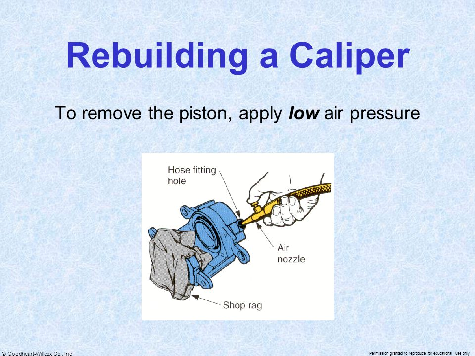 To remove the piston, apply low air pressure
