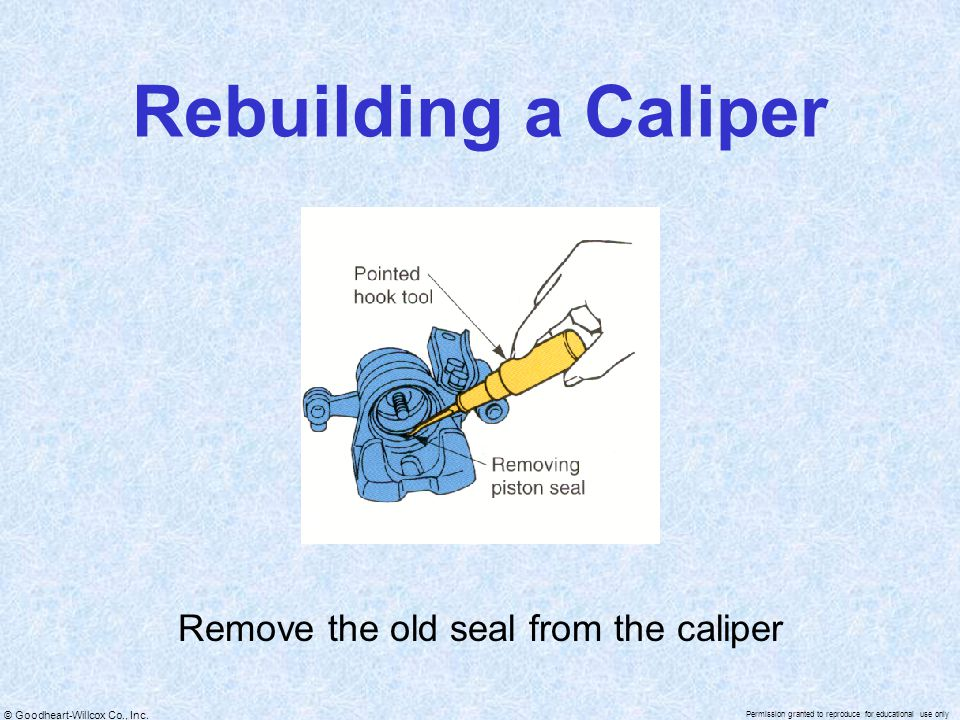 Remove the old seal from the caliper