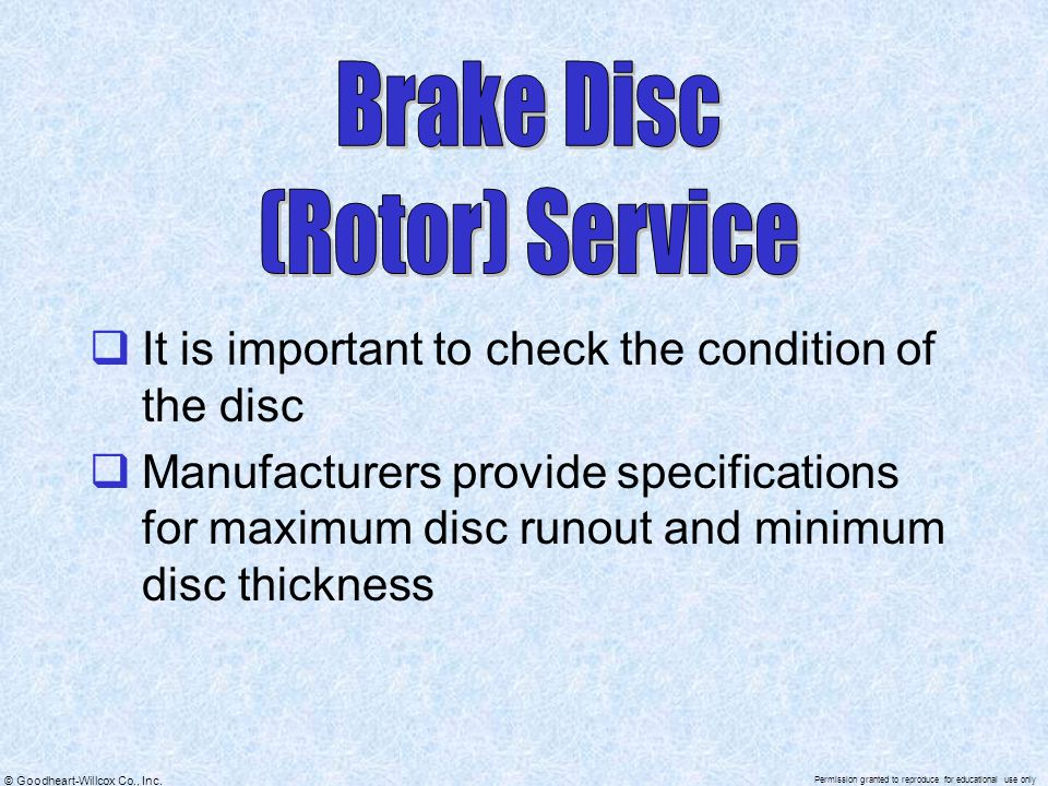 Brake Disc (Rotor) Service