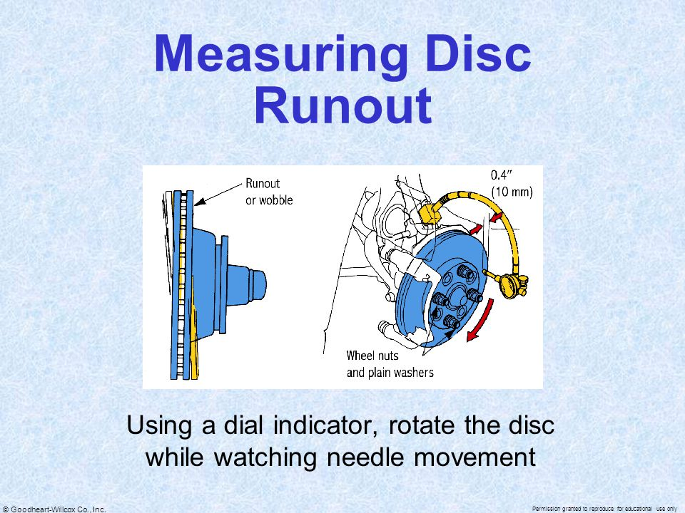 Using a dial indicator, rotate the disc while watching needle movement