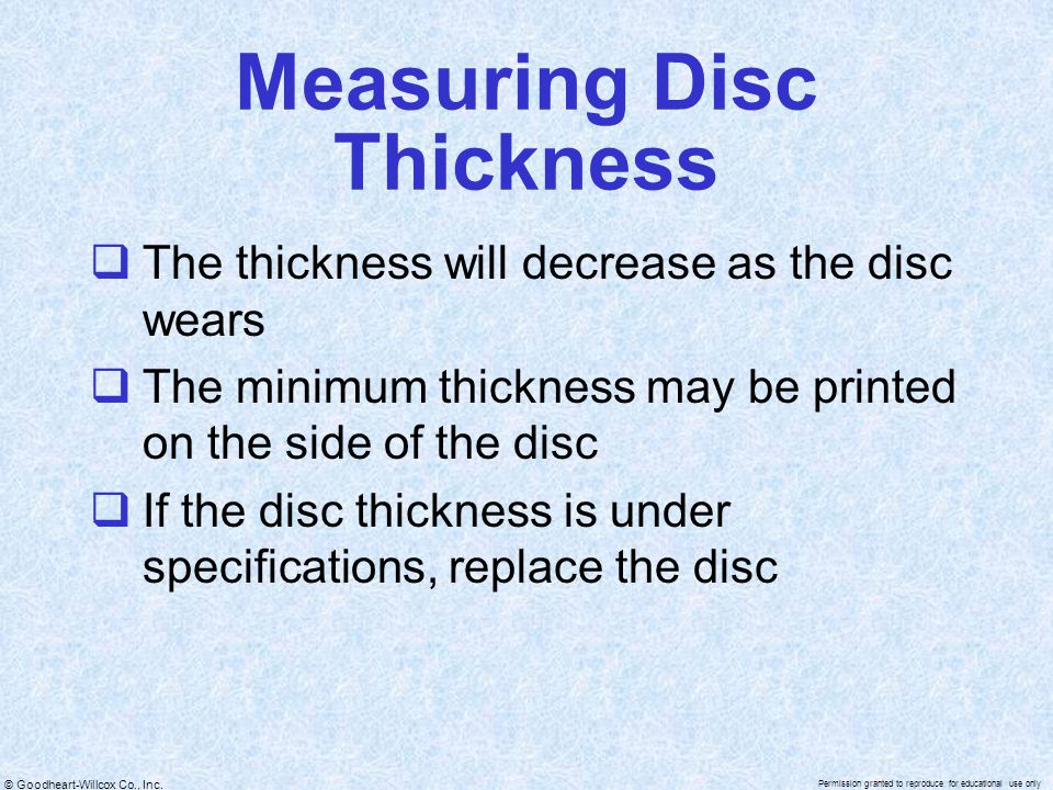 Measuring Disc Thickness