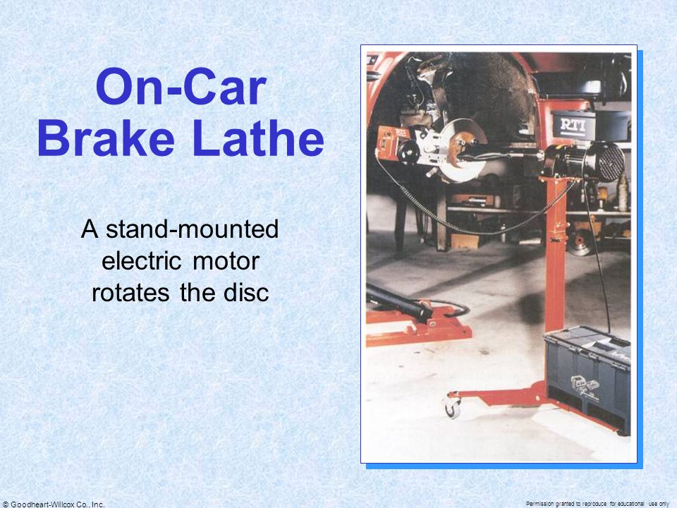 A stand-mounted electric motor rotates the disc