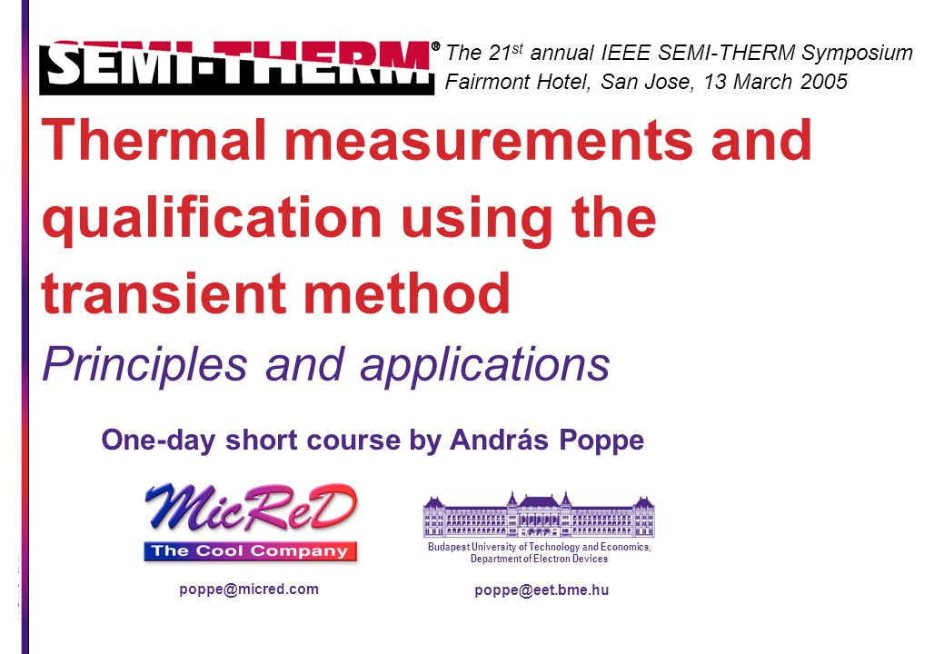 Thermal measurements and qualification using the transient method Principles and applications