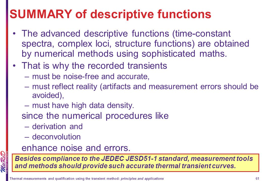 SUMMARY of descriptive functions