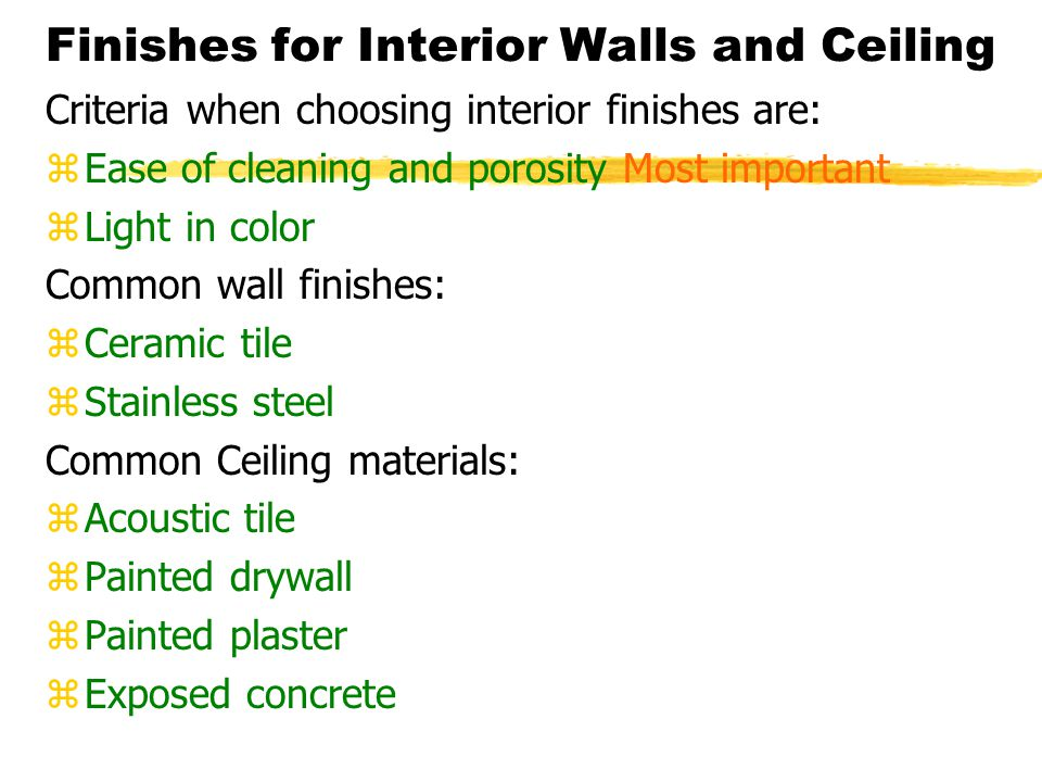 Finishes for Interior Walls and Ceiling