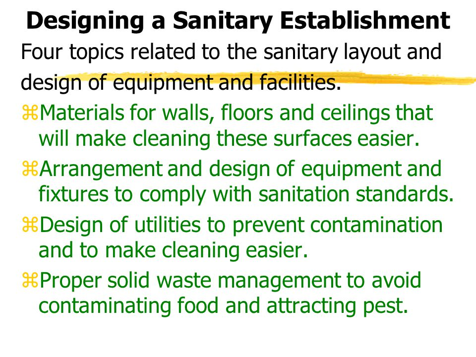 Designing a Sanitary Establishment