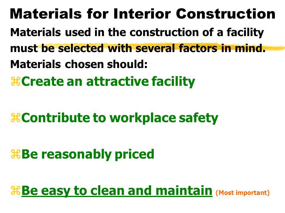 Materials for Interior Construction