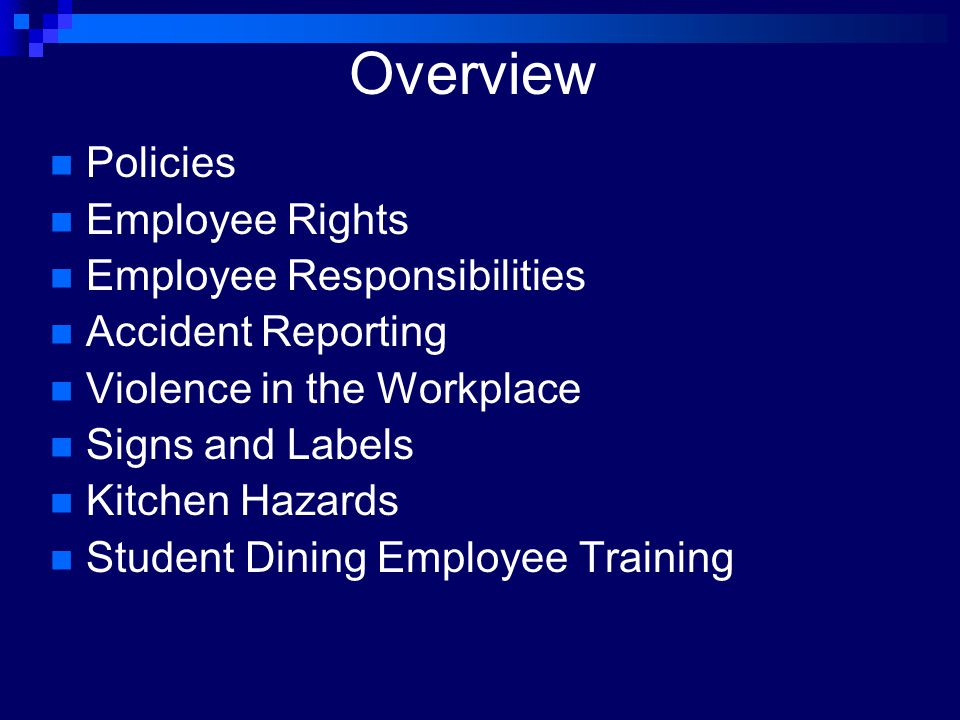 Overview Policies Employee Rights Employee Responsibilities