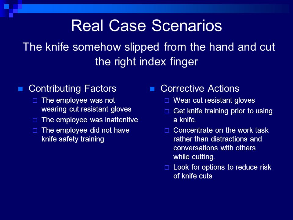 Real Case Scenarios The knife somehow slipped from the hand and cut the right index finger