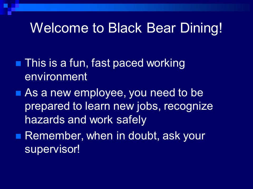 Welcome to Black Bear Dining!