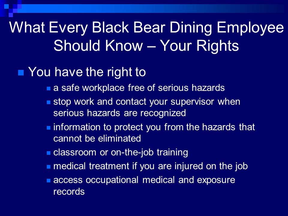 What Every Black Bear Dining Employee Should Know – Your Rights
