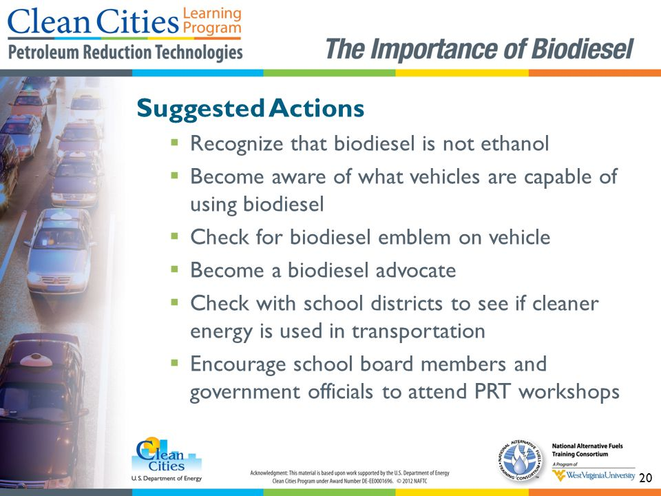 Suggested Actions Recognize that biodiesel is not ethanol