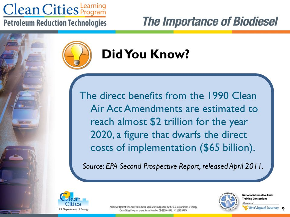 The direct benefits from the 1990 Clean Air Act Amendments are estimated to reach almost $2 trillion for the year 2020, a figure that dwarfs the direct costs of implementation ($65 billion).