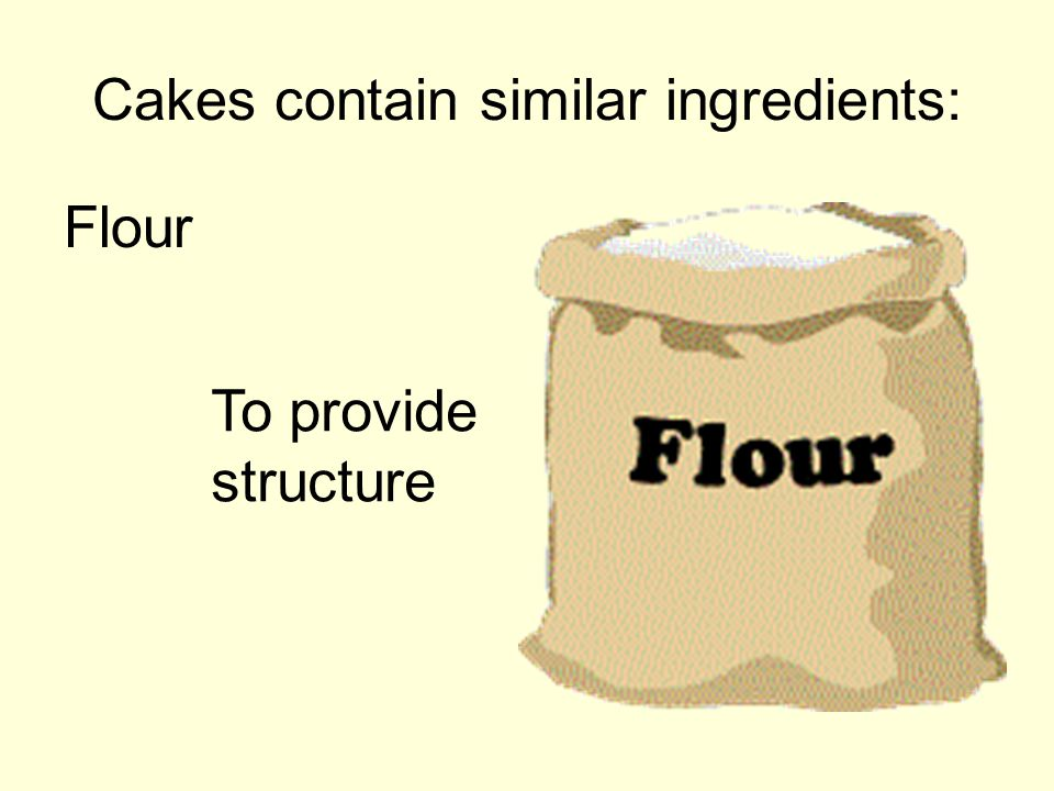 Cakes contain similar ingredients: