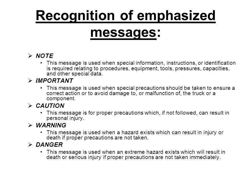Recognition of emphasized messages: