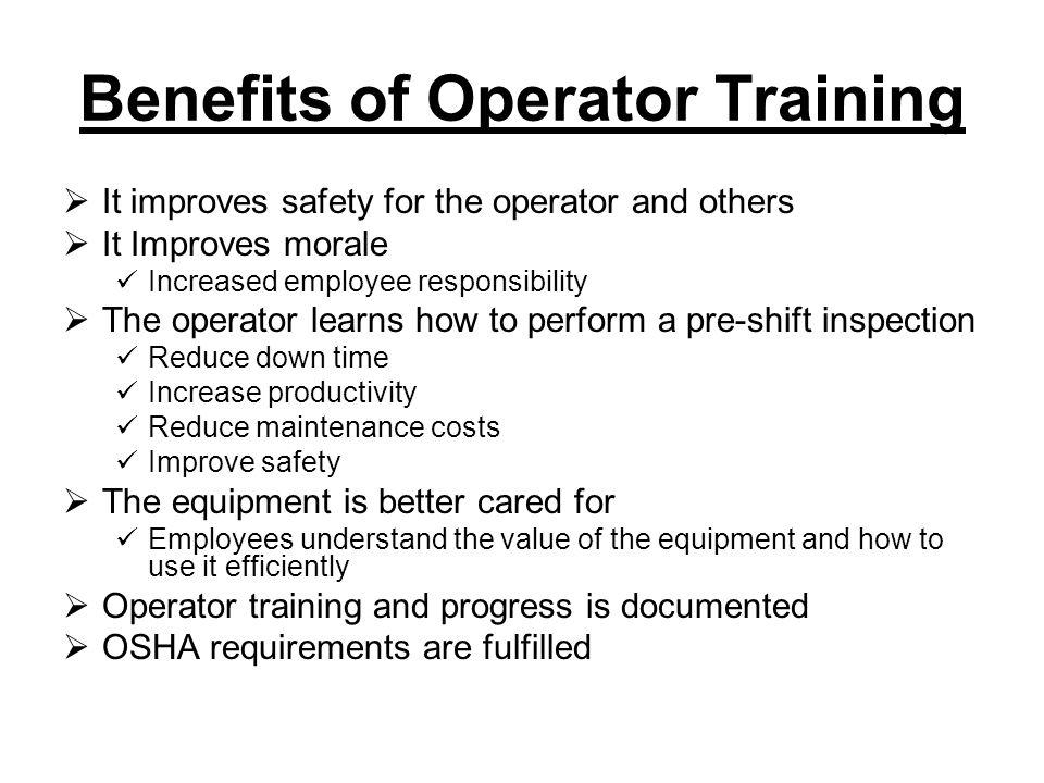 Benefits of Operator Training