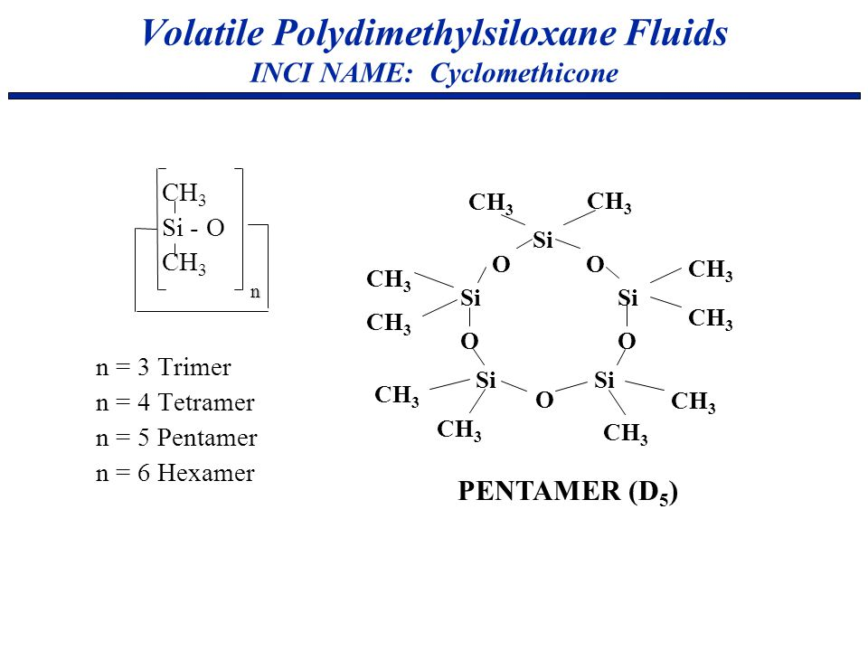 Volatile Polydimethylsiloxane Fluids INCI NAME: Cyclomethicone