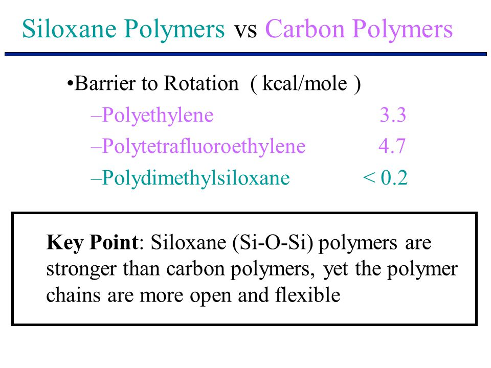 Siloxane Polymers vs Carbon Polymers