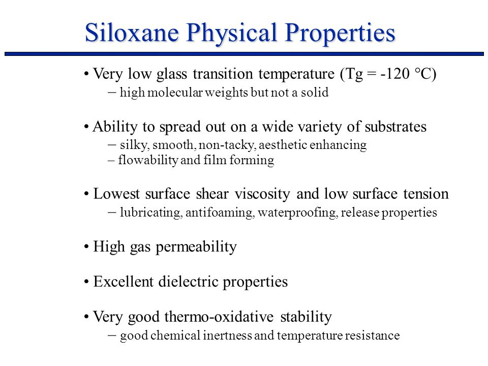 Siloxane Physical Properties