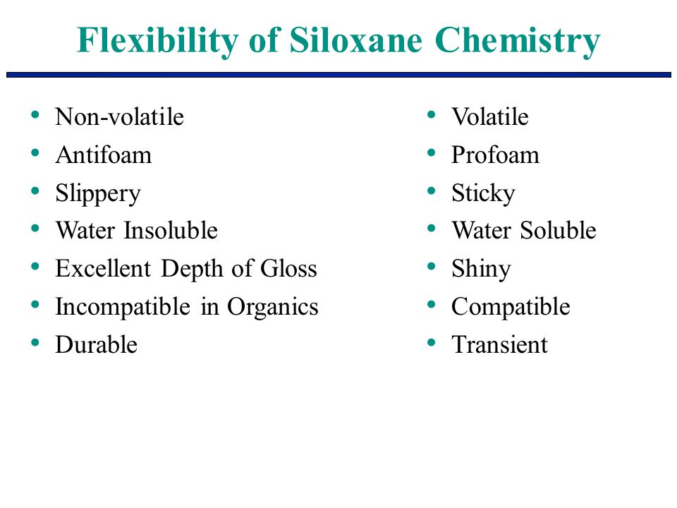 Flexibility of Siloxane Chemistry