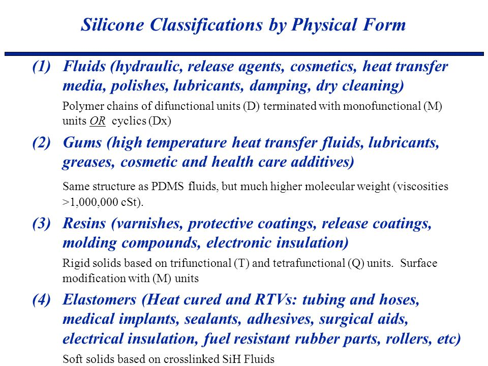 Silicone Classifications by Physical Form