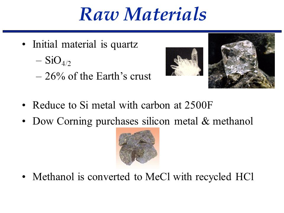 Raw Materials Initial material is quartz SiO4/2