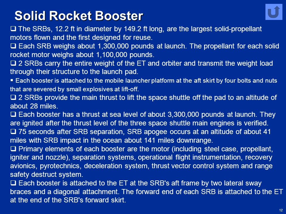 Solid Rocket Booster The SRBs, 12.2 ft in diameter by 149.2 ft long, are the largest solid-propellant motors flown and the first designed for reuse.