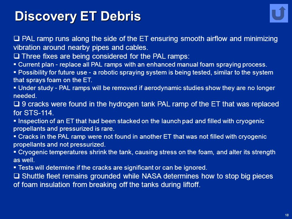 Discovery ET Debris PAL ramp runs along the side of the ET ensuring smooth airflow and minimizing vibration around nearby pipes and cables.