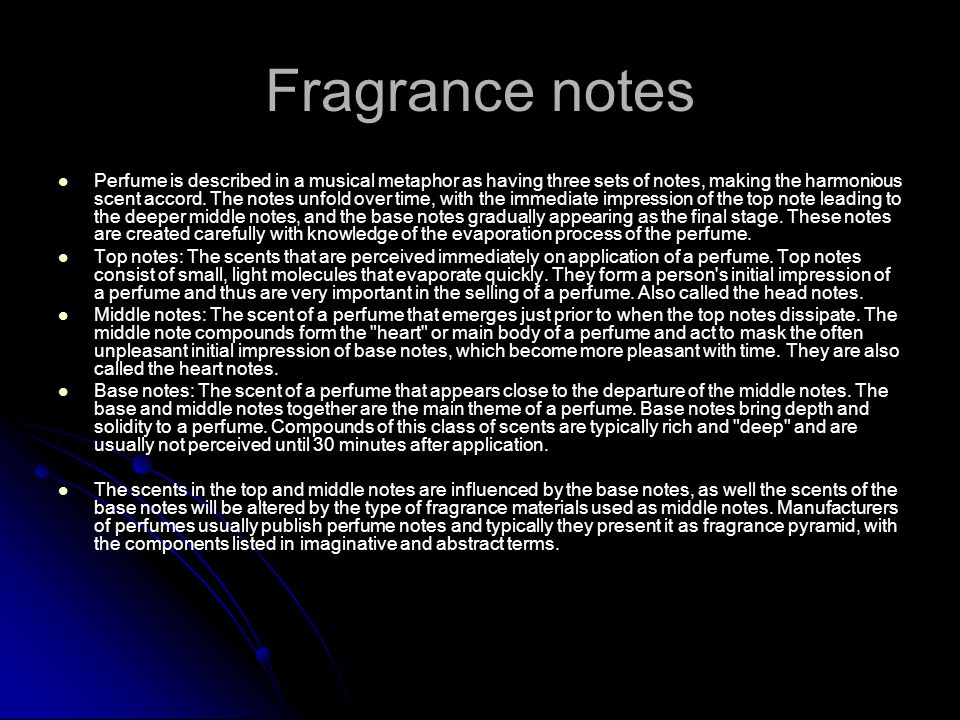 Fragrance notes