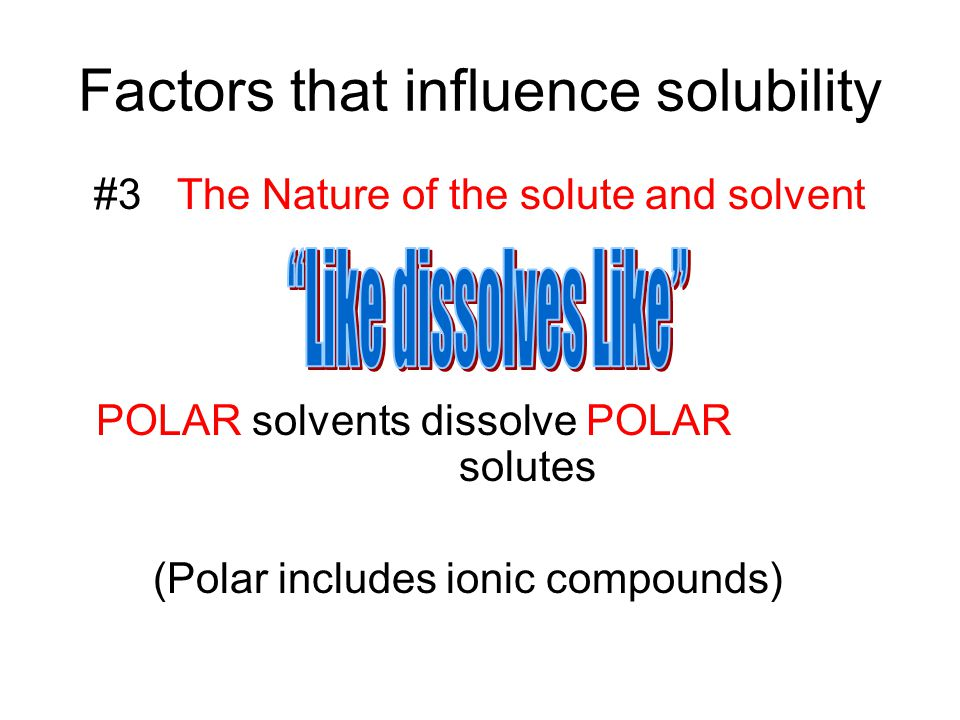Factors that influence solubility
