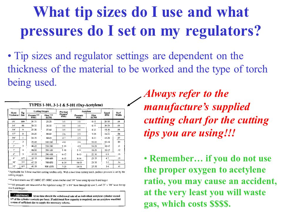 What tip sizes do I use and what pressures do I set on my regulators