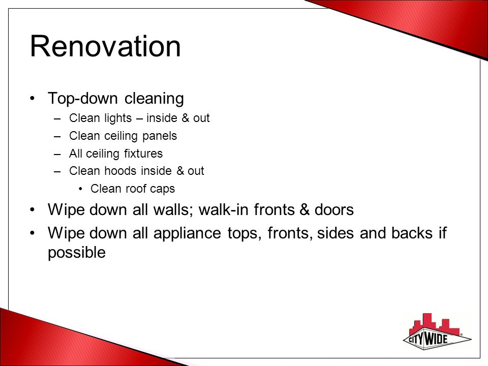 Renovation Top-down cleaning