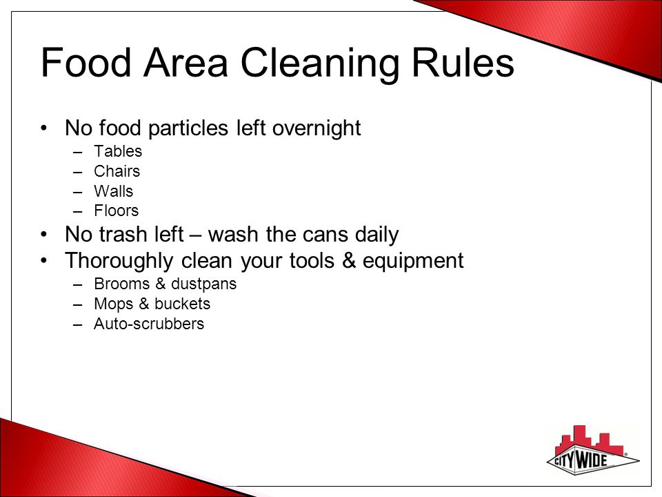 Food Area Cleaning Rules
