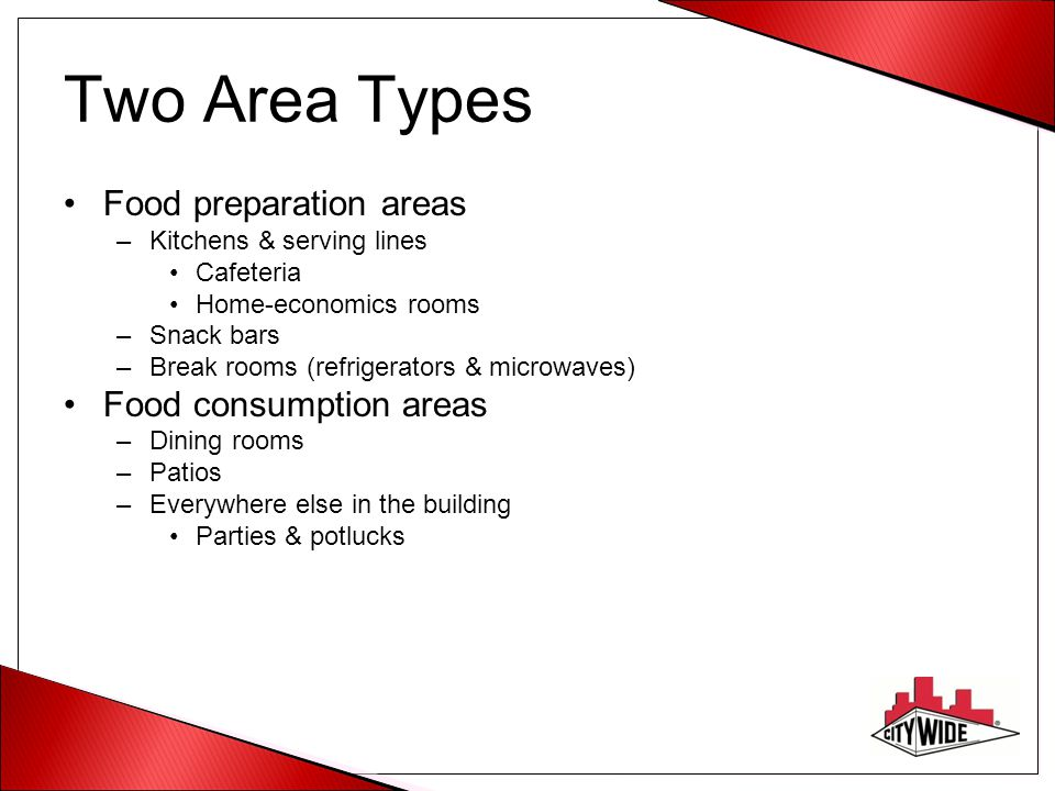 Two Area Types Food preparation areas Food consumption areas