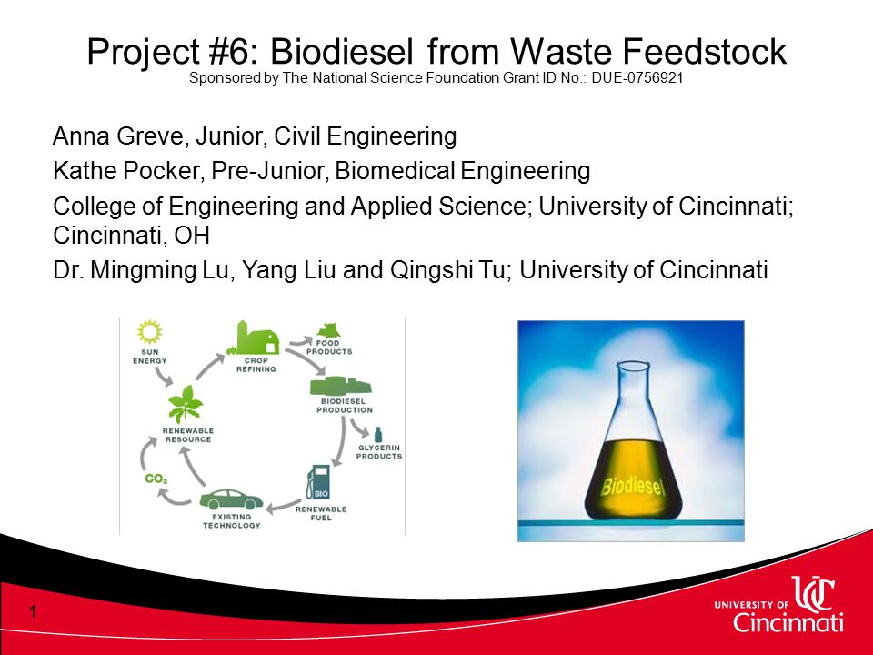 Project #6: Biodiesel from Waste Feedstock Sponsored by The National Science Foundation Grant ID No.: DUE-0756921