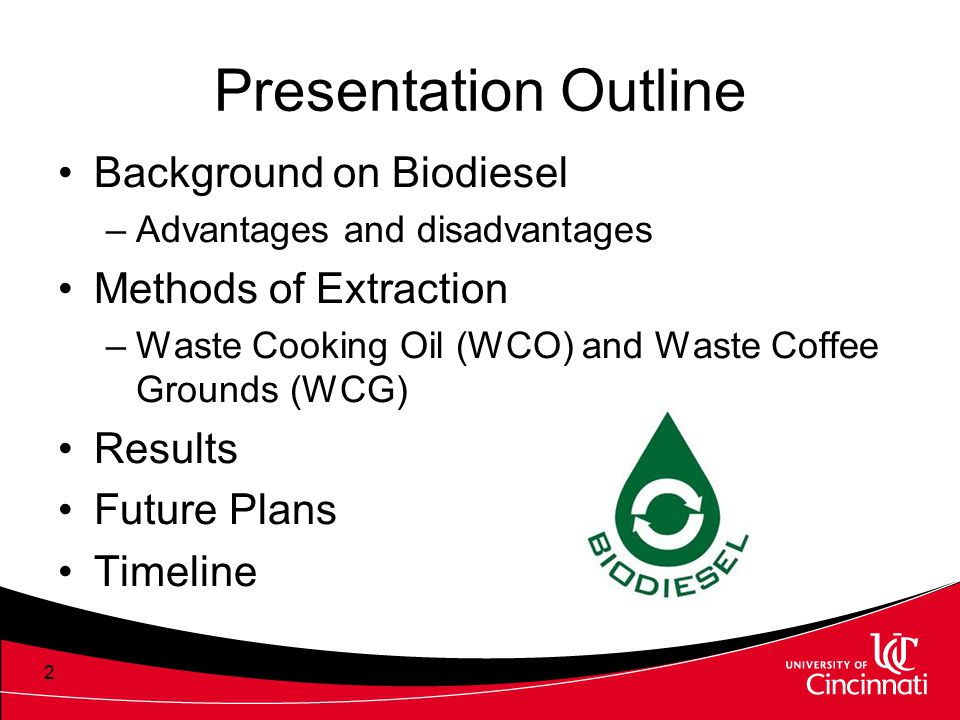 Presentation Outline Background on Biodiesel Methods of Extraction