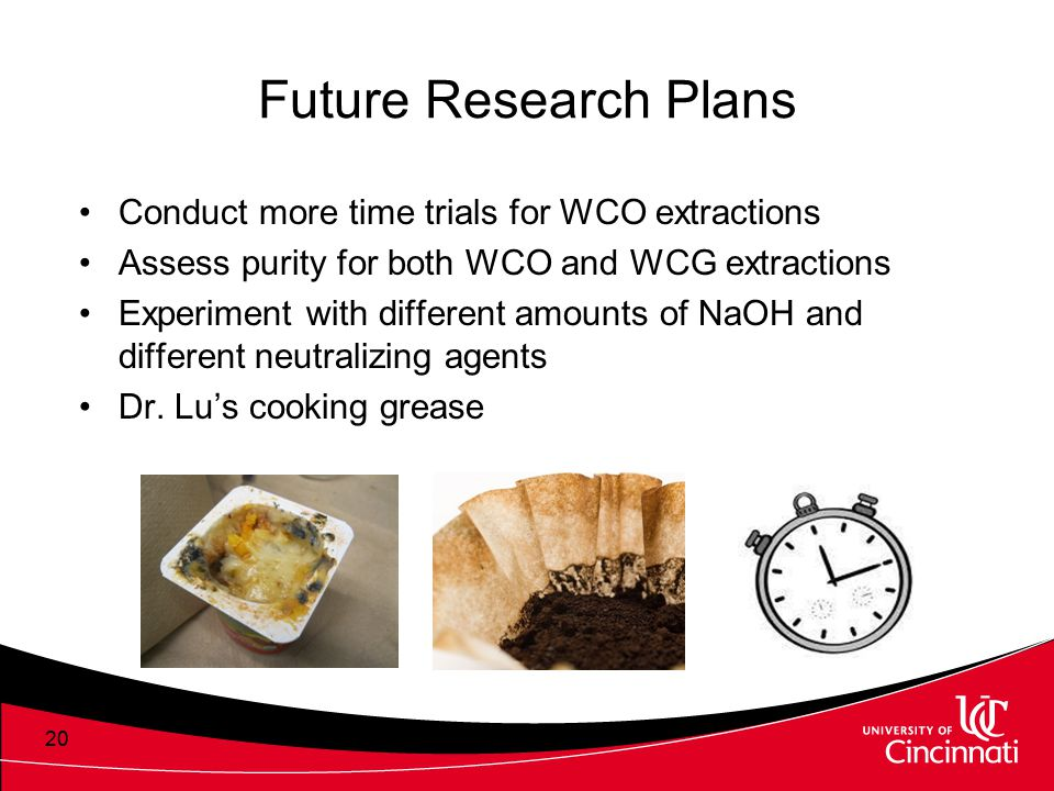 Future Research Plans Conduct more time trials for WCO extractions