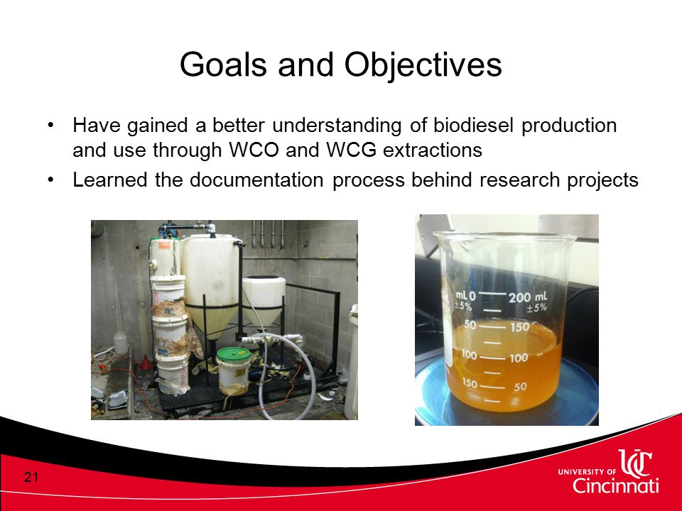 Goals and Objectives Have gained a better understanding of biodiesel production and use through WCO and WCG extractions.