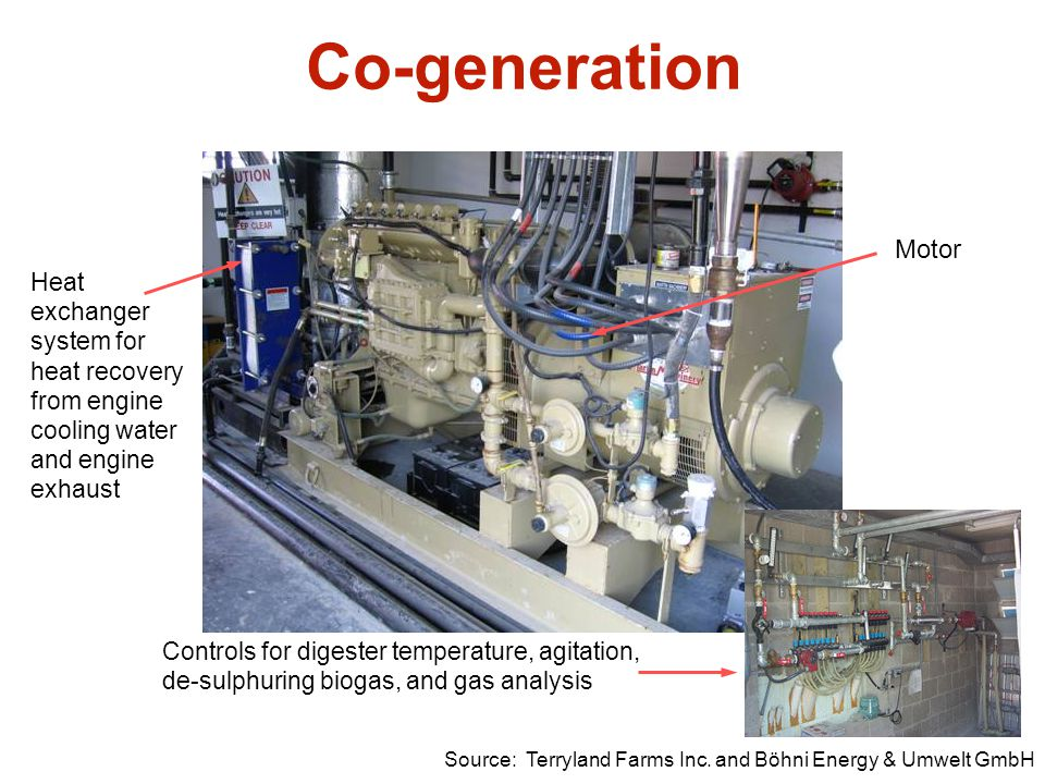Co-generation Motor. Heat exchanger system for heat recovery from engine cooling water and engine exhaust.