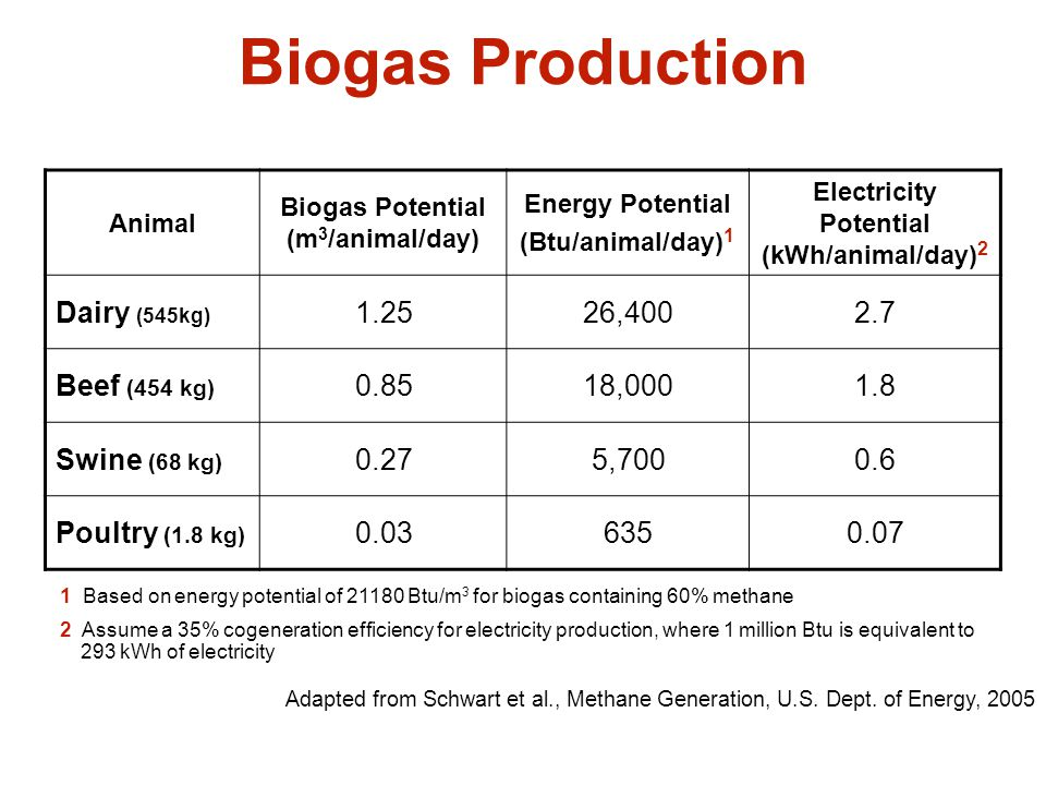 Biogas Production Dairy (545kg) 1.25 26,400 2.7 Beef (454 kg) 0.85