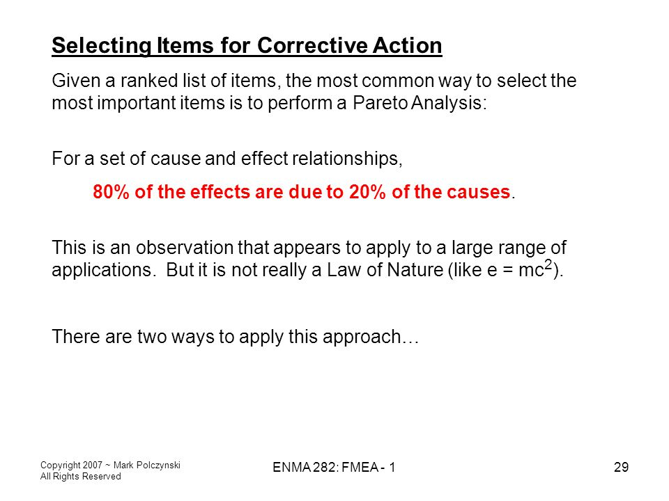 Selecting Items for Corrective Action