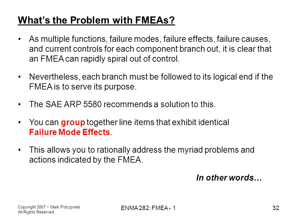 What's the Problem with FMEAs