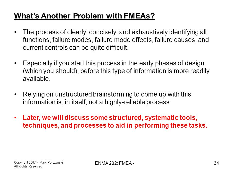 What's Another Problem with FMEAs