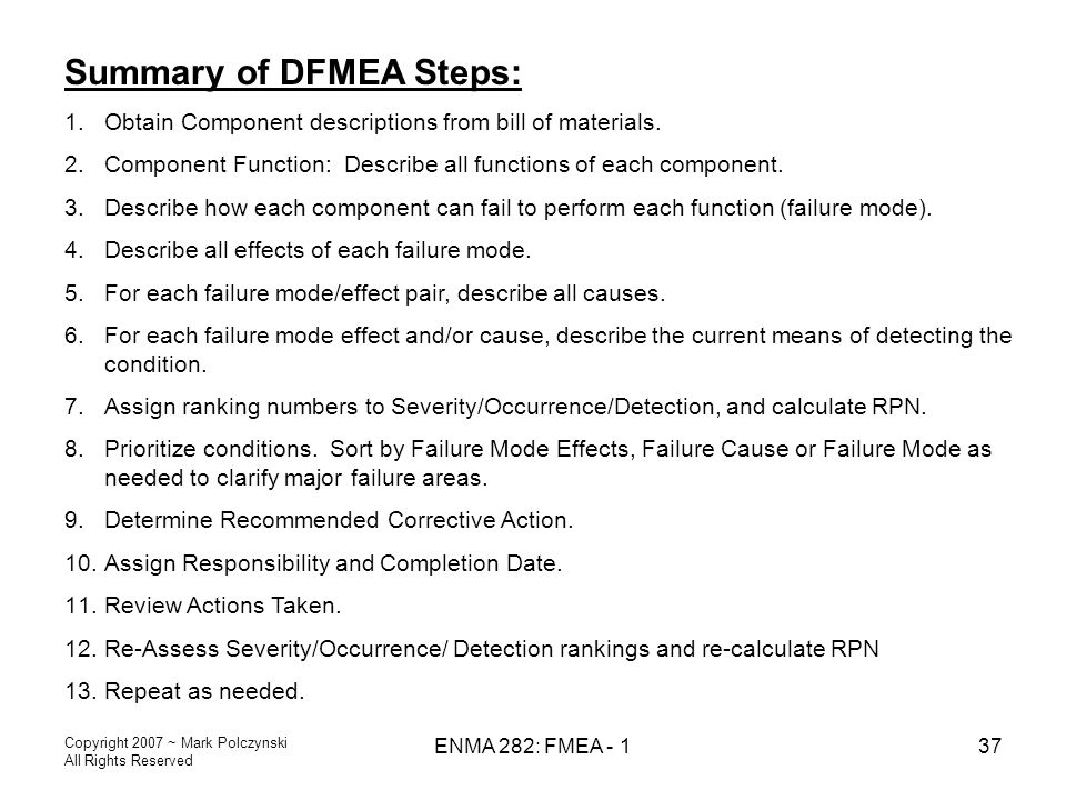 Summary of DFMEA Steps: