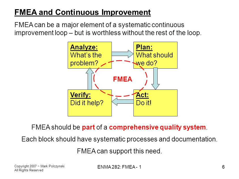 FMEA and Continuous Improvement
