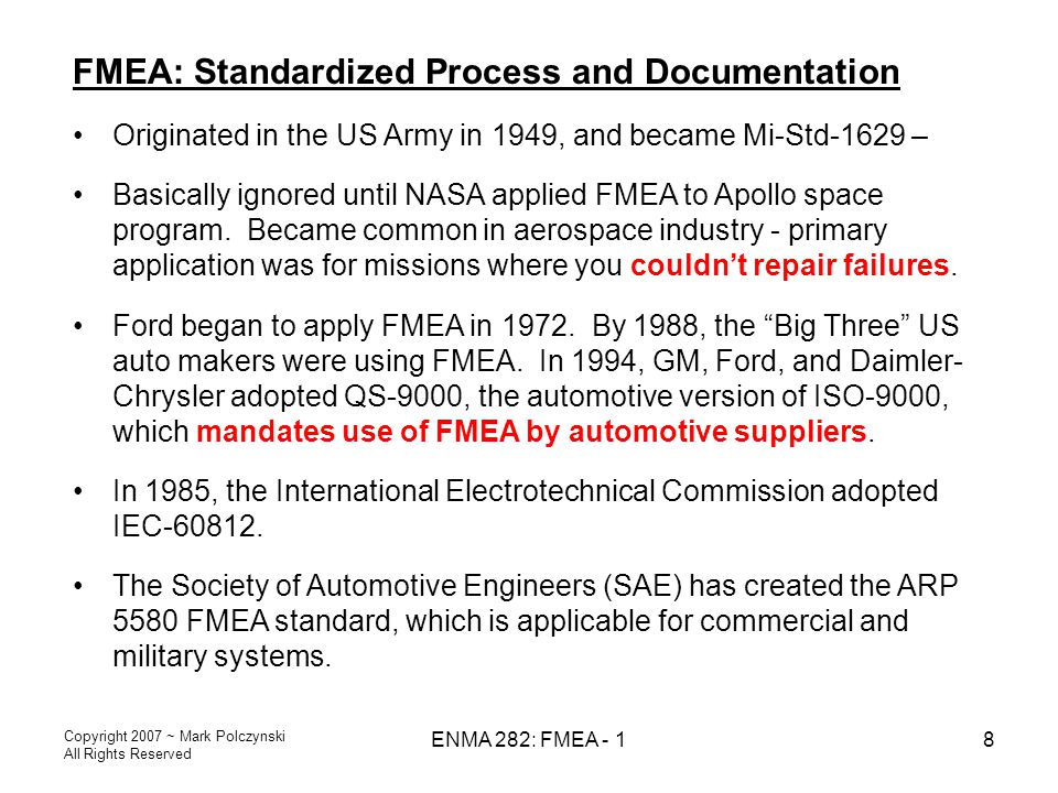 FMEA: Standardized Process and Documentation