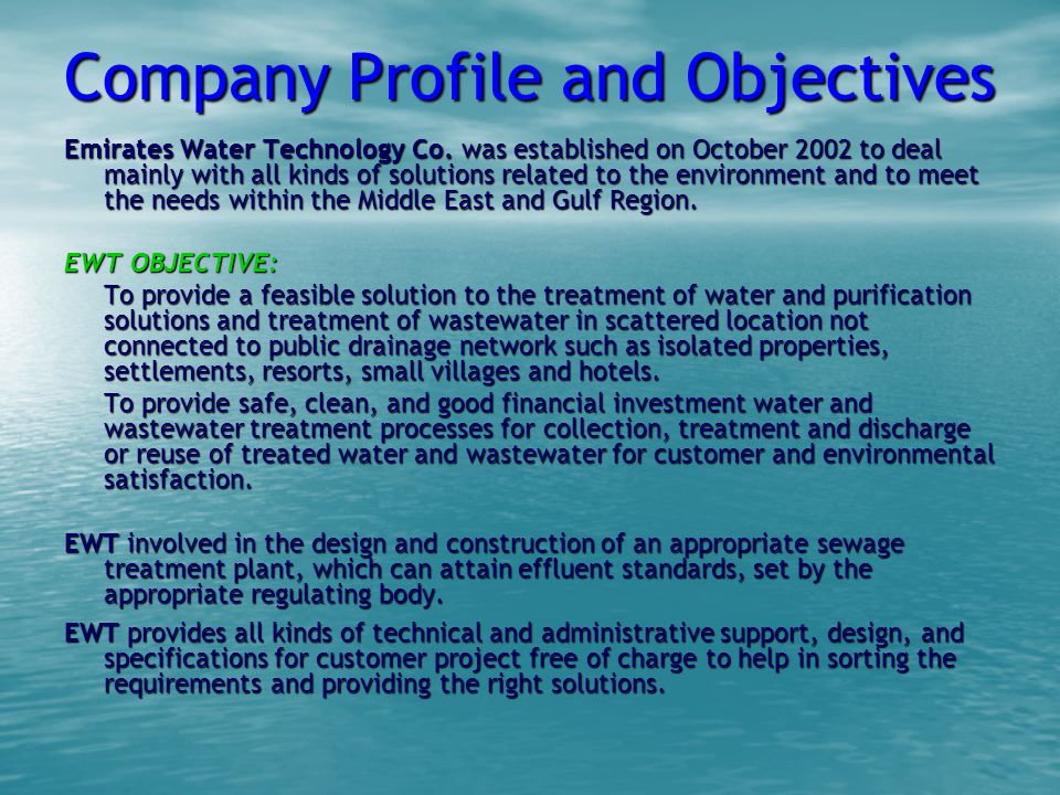 Company Profile and Objectives