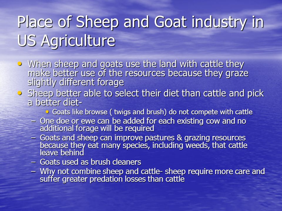 Place of Sheep and Goat industry in US Agriculture