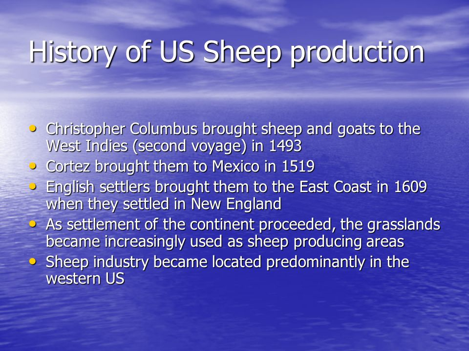 History of US Sheep production