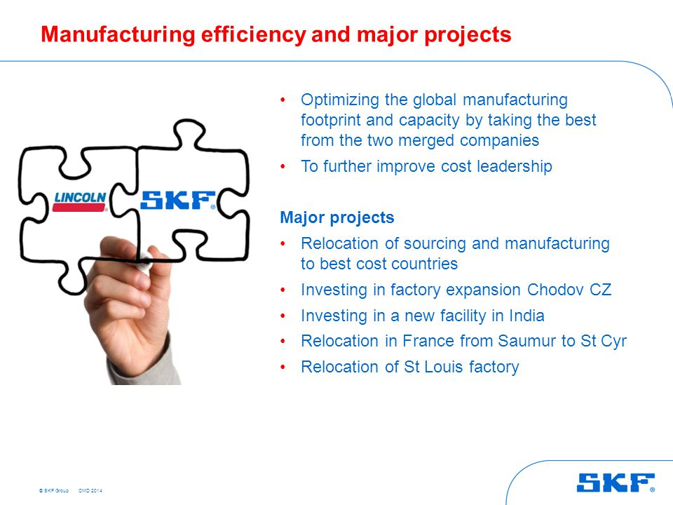 Manufacturing efficiency and major projects
